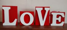 LOVE free standing blocks/ weeding/birthday/valentines/gift large wooden letters